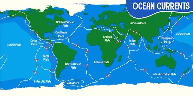 De kaart van de oceaanstromingen met namen