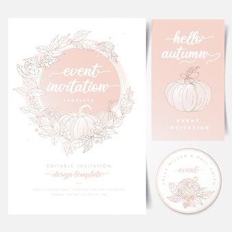 De kaart van de uitnodiging van het baby shower van de pompoen van de herfst