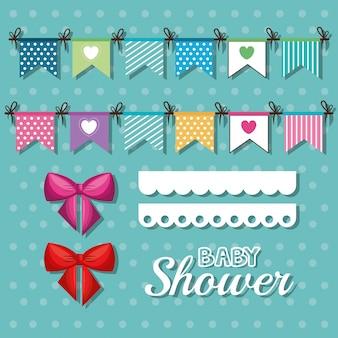 De kaart van de uitnodigingsbaby shower met het desing van wimpels