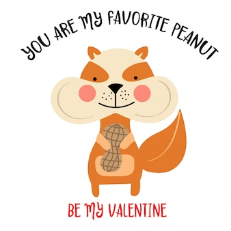 De kaart van de valentijnskaart met eekhoorn en grappig bericht