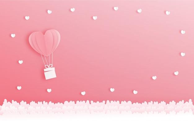 De kaart van de valentijnskaart met hartballon, vectorillustratie.