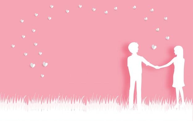 De kaart van de valentijnskaart met in liefde van paar in document sneed stijl vectorillustratie.