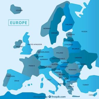 De kaart van europa met blauwe tinten