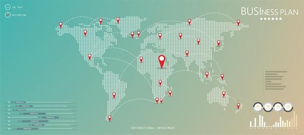 De kaart van het wereldwijde communicatienetwerk is van de ontwerper. het is een goed element van de wereldkaart.
