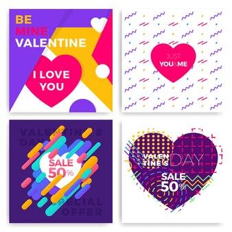 De kaarten van de de daggroet van de valentijnskaart die in de modieuze stijl van memphis met geometrische patronen worden geplaatst