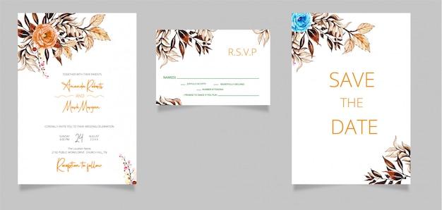 De kaarten van de huwelijksuitnodiging met sparen de datum en rsvp-kaart