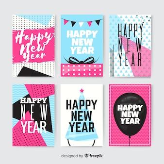 De kaartenpak van het nieuwe jaar geometrische vormen