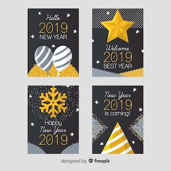 De kaartenpak van het nieuwe jaar gouden decoratie