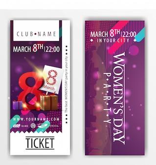 De kaartjes voor het feest op vrouwendag met geschenken