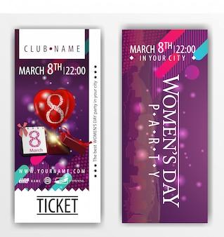 De kaartjes voor het feest op vrouwendag