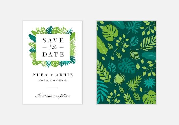 De kaartmalplaatje van de huwelijksuitnodiging met exotische tropische bladeren - vector