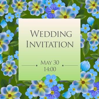 De kaartmalplaatje van de huwelijksuitnodiging met vergeet-mij-nietjes op achtergrond.