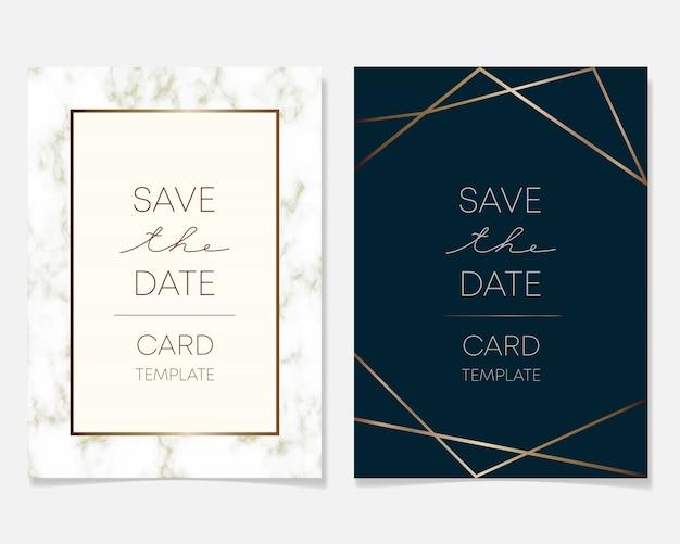De kaartontwerp van de huwelijksuitnodiging met gouden kaders en marmeren textuur