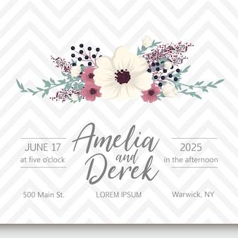 De kaartreeks van de huwelijksuitnodiging met bloem