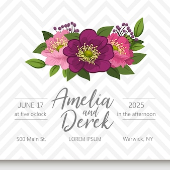 De kaartreeks van de huwelijksuitnodiging met bloemen. sjabloon. vector illustratie