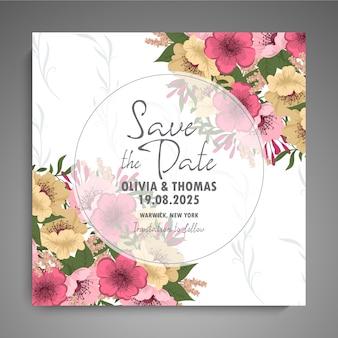 De kaartreeks van de huwelijksuitnodiging met bloemen.