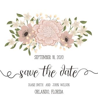 De kaartreeks van de huwelijksuitnodiging met bloemen