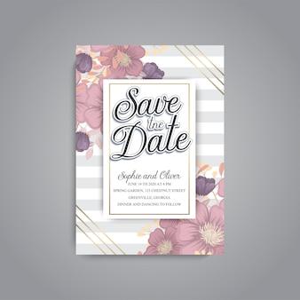De kaartreeks van de huwelijksuitnodiging met bloemmalplaatje