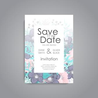 De kaartreeks van de huwelijksuitnodiging met bloemmalplaatjes