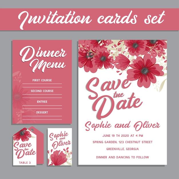 De kaartreeks van de huwelijksuitnodiging met bloemmalplaatjes.