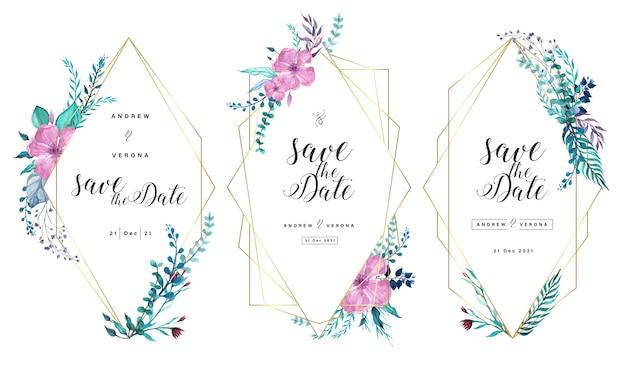 De kaartsjabloon van de huwelijksuitnodiging met gouden geometrisch kader en bloemenwaterverfdecoratie.