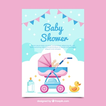 De kaartuitnodiging van de babydouche in vlakke stijl