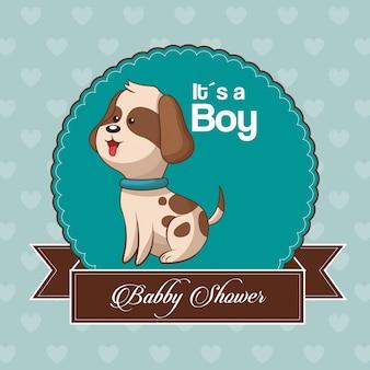 De kaartuitnodiging van de babydouche is een jongen