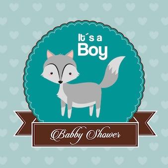 De kaartuitnodiging van de babydouche is een jongensviering