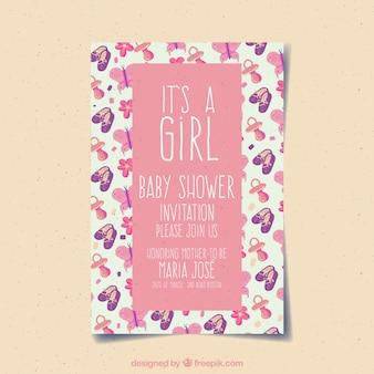 De kaartuitnodiging van het babymeisje met roze kleur
