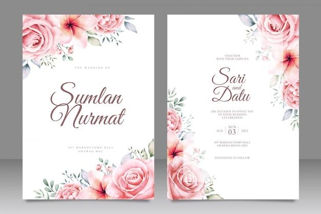 De kaartuitnodiging van het huwelijk met mooie bloementuin