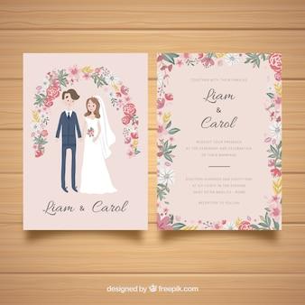 De kaartuitnodiging van het huwelijk met paar en bloemen