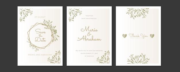 De kaderset van de huwelijksuitnodiging; bloemen, bladeren, aquarel, geïsoleerd op wit. geschetste krans, bloemen- en kruidenkrans met pastel of roze kleur.