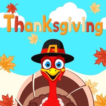 De kalkoen in de hoed glimlacht en kijkt uit naar de herfstachtergrond. thanksgiving dag.