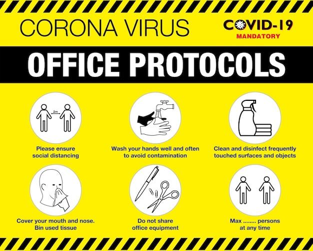 De kantoorprotocolposter of volksgezondheidspraktijken voor covid19 of gezondheids- en veiligheidsprotocollen
