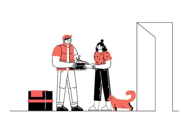 De karakterkoerier overhandigt een doos met eten aan de koper