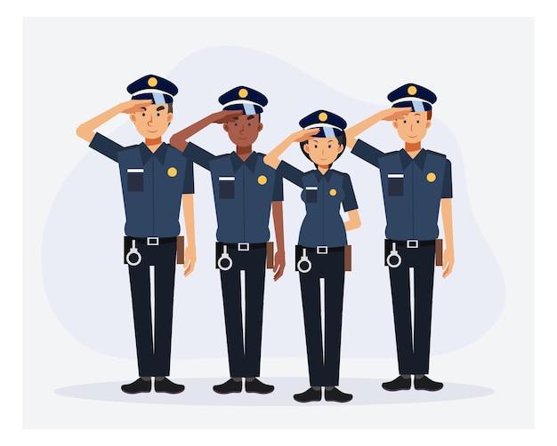 De karakters van de politieagent van de man en van de vrouw zijn groet
