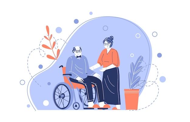 De karakters van een oud stel. grootmoeder zorgt voor een bejaarde grootvader in een rolstoel. ouderen helpen. voor gepensioneerden zorgen. vectorillustratie in een vlakke stijl