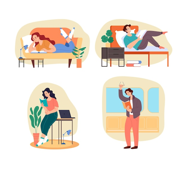 De karakters van mensenstudenten die boek thuis en buiten lezen en de geïsoleerde reeks van het onderzoeksconcept voorbereiden.