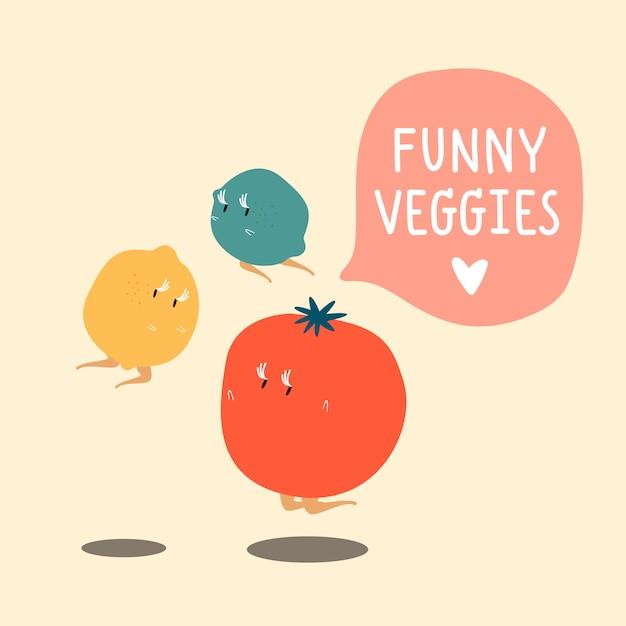 De karakters vastgestelde vector van het verse groentebeeldverhaal