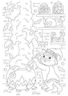 De kat brouwt een drankje in de kerker in een grote ketel kleurboekpagina voor kinderen