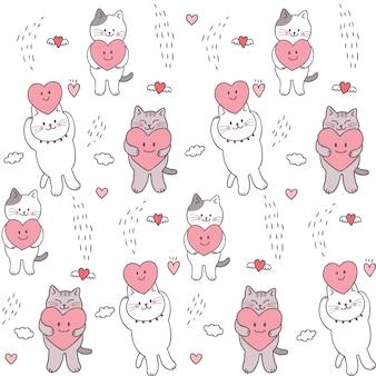 De kat en het hart naadloos patroon van beeldverhaal leuk valentijnskaarten.