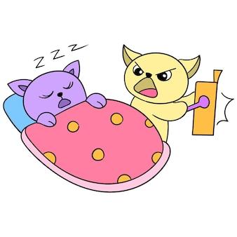 De kat maakt zijn vriend midden in de nacht wakker voor sahur, vectorillustratiekunst. doodle pictogram afbeelding kawaii.