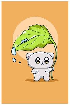 De kat onder het blad dier cartoon illustratie