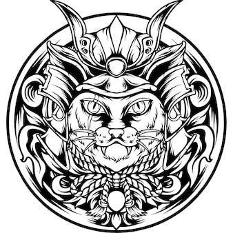 De kat samurai japan met ornament silhouet