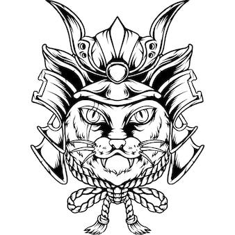 De kat samurai japan silhouet