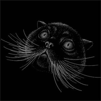 De kat voor tattoo of t-shirt design of uitloper. deze tekening zou leuk zijn om te maken op de zwarte stof of het canvas.