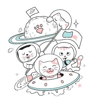 De katten reizen de ruimte in