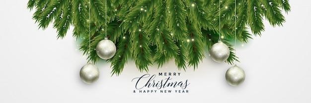 De kerstboom verlaat banner met kerstmisballen