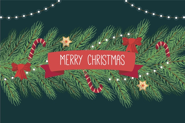 De kerstboom vertakt zich achtergrond in vlak ontwerp