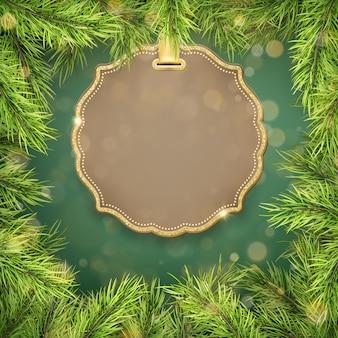 De kerstboom vertakt zich grens abd etiket met ruimte voor tekst.